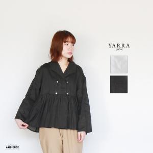 YARRA ヤラ ラミーWフロントシャツ レディース 2019SS ホワイト ブラック リネン 日本製|1em-rue