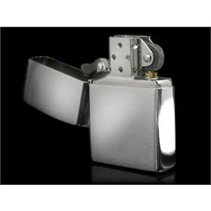ZIPPO ジッポオイルライター シルバークロームフィニッシュ ブラッシュ 200FB ネコポス可|1more