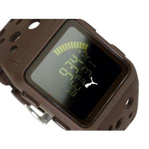 PUMA TIME AGITATION プーマ メンズサイズ反転液晶デジタル腕時計 ブラウン ウレタンベルト A11.6 ネコポス不可|1more