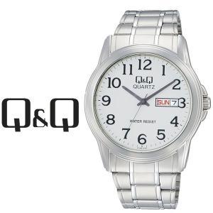 【ネコポス配送で送料無料】シチズン CITIZEN Q&Q キューキュー Day&Date デイ&デイト メンズ 腕時計 ホワイト×シルバー A142-214|1more