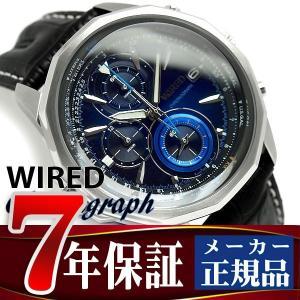 SEIKO WIRED セイコー ワイアード THE BLUE ザ・ブルー メンズ腕時計 クロノグラフ ブルー ブラックレザーベルト AGAW422 正規品 1more