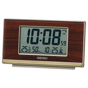 SEIKO セイコークロック   ブラウン  デジタル時計 電波クロック 目覚まし時計 SQ793B 1more