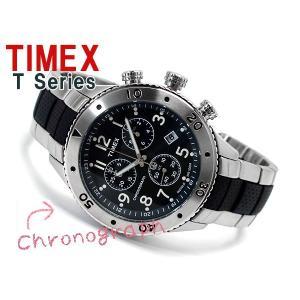 TIMEX タイメックス Tシリーズ メンズクロノグラフ腕時計 グレーブラックダイアル ステンレス×ウレタンコンビベルト T2M706 ネコポス不可|1more|02