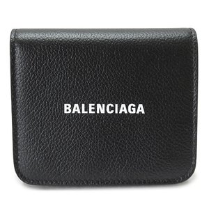 バレンシアガ 折財布 レディース  財布 三つ折り コンパクト財布 レザー ブラック 黒 BALENCIAGA 593808 1IZ4M 1090 1pia