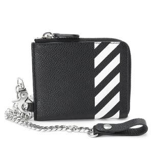 オフホワイト 財布 メンズ OFF WHITE  ウォレットチェーン レザー ブラック×ホワイト OMNC013R19C44032 1001|1pia