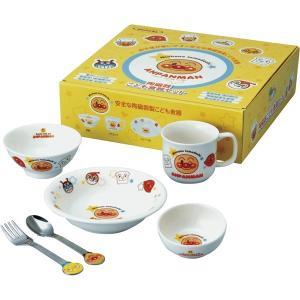 アンパンマン お子様食器ギフトセットM 074740(キャラクターの食器セット かわいい磁器の食器 子供用の茶碗 マグ フルーツ皿にステンレスのスプーンとフォーク)の商品画像 ナビ
