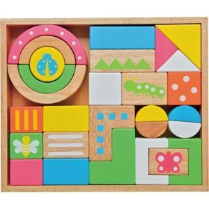 ●材質:ゴムの木、ポプラ、MDF ●セット内容:木箱(32×27×6cm)×1、積木パーツ×28 ●...
