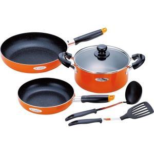 ●日常使いに便利なIH対応アルミ両手鍋とフライパンのセット。焦げ付きにくい内面マーブル加工。●材質:...