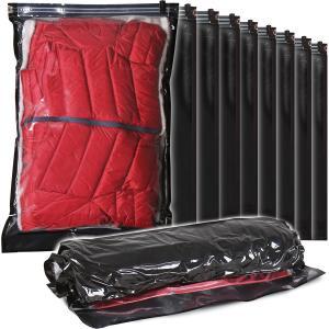 圧縮袋 10枚組 衣類用 Lサイズ 手巻きタイプ ブラック 片面透明 丈夫な厚手フィルム 旅行 トラ...