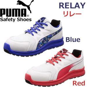 安全靴 プロスニーカー PUMA プーマ RELAY リレー  ブルー レッド ロー No.64.3...