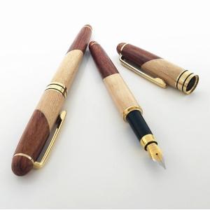 万年筆 天然 木製 万年筆 サインペン 中細 金属製ペン先 回転式 木目調 ネチュラル アンティーク...