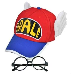 Dr.スランプ アラレ ちゃん 風 帽子 メガネ 2点 セット コスチューム用小物 レッド×ブルー