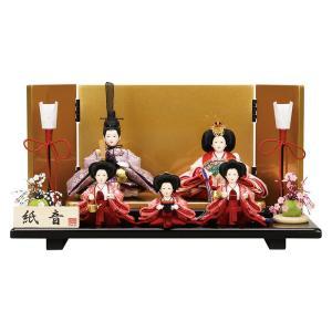 雛人形 コンパクト ひな人形 平飾り 五人飾り 恵翠作 紙音...