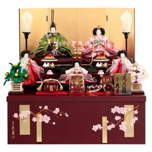 雛人形 久月 ひな人形 雛 コンパクト収納飾り 三段飾り 五人飾り よろこび雛 有職 小三五親王 小芥子官女 h033-k-2121 D-25|2508-honpo