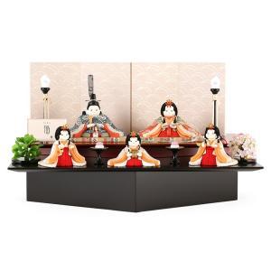 雛人形 幸一光 ひな人形 コンパクト 雛 木目込人形飾り 段飾り 五人飾り 福(ふく) 目入頭 朱黒二段飾台 h033-koi-4265|2508-honpo
