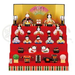 雛人形 コンパクト ひな人形 雛 五段飾り 十人飾り 薬師窯 陶人形 錦彩華 みやび雛 h033-swrk-2484|2508-honpo
