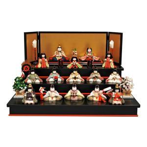 雛人形 幸一光 ひな人形 コンパクト 雛 木目込人形飾り 三段飾り 十五人飾り うらら 正絹 三段黒塗り飾り台 h033-koi-8530|2508-honpo