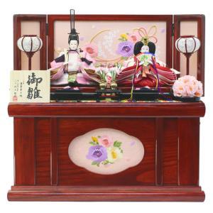 雛人形 ひな人形 収納飾り 親王飾り ワインレッドの塗りを施した木製台屏風に、春らしい色合いのお人形...