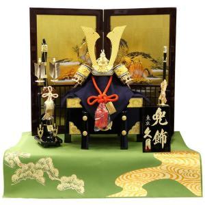 五月人形 久月 兜平飾り 兜飾り 高床飾り 正絹朱糸縅 矧ぎ合わせ鉢 15号兜 庭園山水二曲屏風 h305-k-19008|2508-honpo