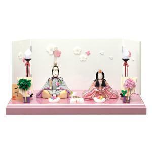 雛人形 ひな人形 木目込み 一秀 コンパクト 親王飾り 平飾り さくらさくら 18号 刺繍 h243-ic-127|2508-honpo
