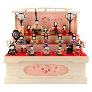ひな人形 一秀 雛人形 収納飾り 三段飾り 十五人飾り 木目込み人形|2508-honpo