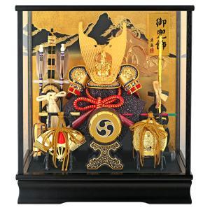 五月人形 兜飾り ケース飾り 富岳 山水バック h285-f...