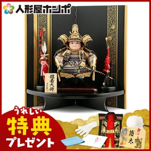 五月人形 子供大将飾り 武者人形飾り 平飾り 清雲斉作 鎧着大将 h245-fz-62-341-w|2508-honpo