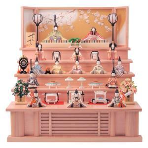 雛人形 一秀 ひな人形 雛 木目込人形飾り 五段飾り 十五人飾り 木村一秀作 さくらさくら 220号 五段セット LEDコードレス雪洞付 h313-ic-108|2508-honpo