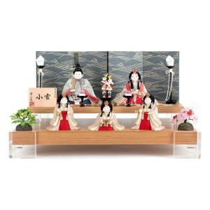 雛人形 幸一光 ひな人形 コンパクト 雛 木目込人形飾り 段飾り 五人飾り 小雪 目入頭 正絹 屏風D アクリル足付飾台 h033-koi-4322d 2508-honpo