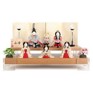 雛人形 幸一光 ひな人形 コンパクト 雛 木目込人形飾り 段飾り 五人飾り 小雪 目入頭 正絹 屏風F アクリル足付飾台 h033-koi-4322f 2508-honpo