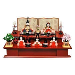 雛人形 幸一光 ひな人形 コンパクト 雛 木目込人形飾り 段飾り 五人飾り はる 正絹 木製朱塗り二段台 h033-koi-4378 2508-honpo