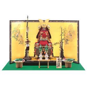 五月人形 久月 鎧平飾り 鎧飾り 平安一水作 正絹赤糸縅総裏15号 竹雀之大鎧 h285-k-21916 K-29|2508-honpo