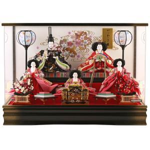 雛人形 コンパクト ひな人形 雛 ケース飾り 五人飾り 藤翁作 月結 三五芥子五人 金襴仕立 アクリルケース オルゴール付 h293-fn-173-506
