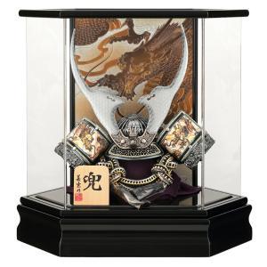 五月人形 兜ケース飾り 兜飾り 美光作 いぶし銀 貫前鍬形 御兜 六角アクリルケース(側面) h315-sb-6k-muki 2508-honpo