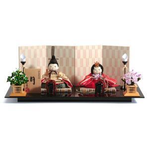 雛人形 幸一光 ひな人形 コンパクト 雛 平飾り 親王飾り 月(つき) 目入頭 衣裳着 黒艶塗台 h033-koi-1270|2508-honpo