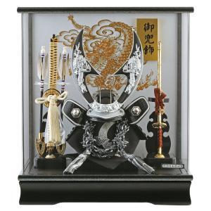 五月人形 兜ケース飾り 兜飾り 藤翁作 ハヤブサ 銀 アクリルケース オルゴール付 h305-fn-165-763|2508-honpo