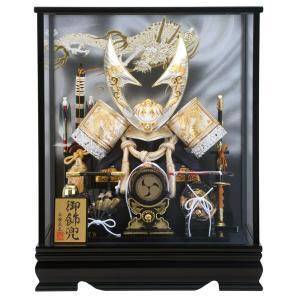 五月人形 兜ケース飾り 兜飾り 平安義正作 白金盛龍ハヤブサ 12号 オルゴール付 h285-se-k713|2508-honpo