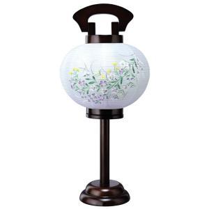 盆提灯 行灯 ともしび 1号 ブラウン色塗 電気コード式 絹製 絹二重 h318-ymt-0412