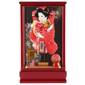 羽子板 久月 ケース飾り 正絹造り 紅彩 8号 h291-k...