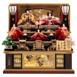 雛人形 久月 ひな人形 雛 三段飾り 五人飾り 秀峰雛 西陣織金襴 十番親王 三五官女 駿河古典蒔絵 h313-k-1029 D-15|2508-honpo