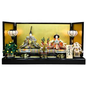 雛人形 久月 ひな人形 雛 平飾り 親王飾り 平安雛幸作 帯地 八番親王 h313-k-k3639|2508-honpo
