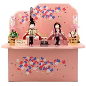 雛人形 飾り方 コンパクト 収納飾り 木目込み 柿沼東光作 ひなもも ピンク h293-mi-kt-1869bs 雛 人形 コンパクト収納飾り 親王飾り かわいい 木製|2508-honpo