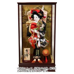 羽子板 久月 ケース飾り 吉祥 鶴寿 松に鶴 刺繍振袖 久月オリジナル面相 18号 ワイン塗面取ケース h031-k-56360-1|2508-honpo