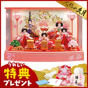 雛人形 久月 ひな人形 雛 ケース飾り 五人飾り 小三五親王 小芥子官女 アクリルケース h033-k-1907 D-82|2508-honpo