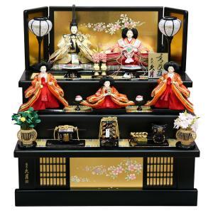 雛人形 久月 ひな人形 雛 コンパクト収納飾り 三段飾り 五人飾り よろこび雛 小三五親王 芥子官女 桐製 h313-k-2129|2508-honpo