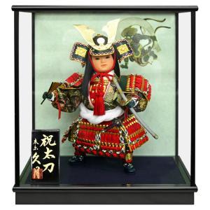 五月人形 久月 ケース飾り 武者人形 豪貴 祝太刀 8号 慶印8 h305-k-keiin8 K-142|2508-honpo