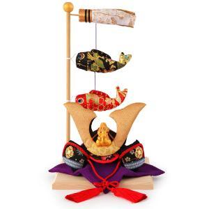 五月人形 リュウコドウ ちりめん コンパクト 兜平飾り 兜飾り 鯉飾り付き h305-rkcp-be021|2508-honpo