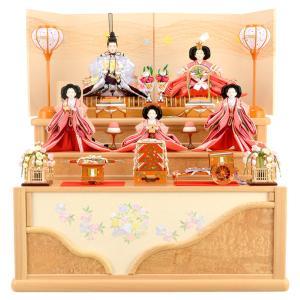 ひな人形 雛人形 収納飾り 三段飾り 五人飾り hs-11-70-3ivory 2508-honpo
