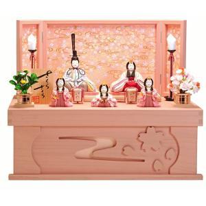 雛人形 一秀 ひな人形 雛 木目込人形飾り コンパクト収納飾り 五人飾り 木村一秀作 さくらさくら 20号 桐収納 h313-ic-119|2508-honpo