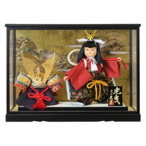 五月人形 久月 ケース飾り 武者人形 兜曳 7号 都印73 h305-k-toin73 K-135|2508-honpo